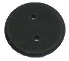 洗濯アイロンの可能なICタグ。黒色をしており、洋裁ボタンのような形。直径2センチ、厚みは2ミリ程。真ん中に、取り付け用の小さな穴が二つ空いている。